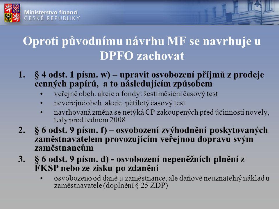 Oproti původnímu návrhu MF se navrhuje u DPFO zachovat 1.§ 4 odst. 1 písm. w) – upravit osvobození příjmů z prodeje cenných papírů, a to následujícím