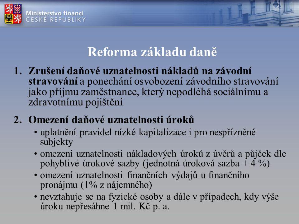 Reforma základu daně 1.Zrušení daňové uznatelnosti nákladů na závodní stravování a ponechání osvobození závodního stravování jako příjmu zaměstnance,