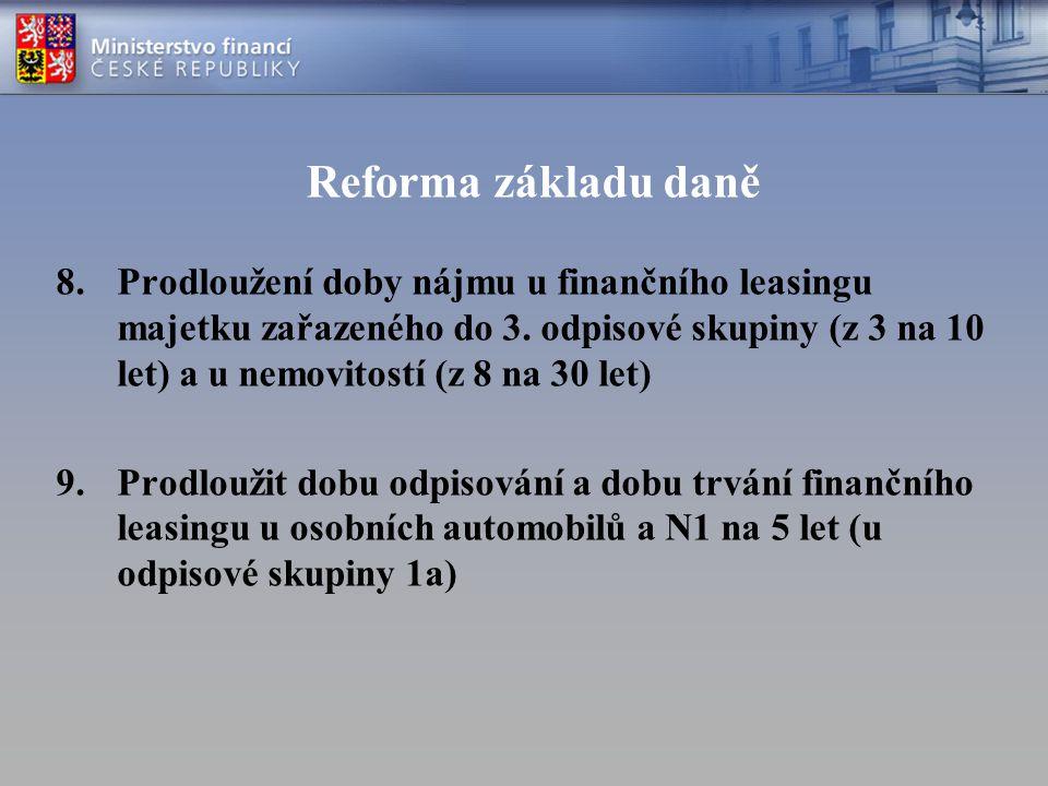 Reforma základu daně 8.Prodloužení doby nájmu u finančního leasingu majetku zařazeného do 3. odpisové skupiny (z 3 na 10 let) a u nemovitostí (z 8 na