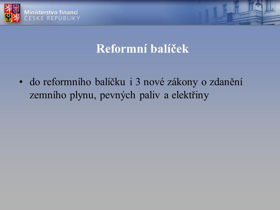 Reformní balíček do reformního balíčku i 3 nové zákony o zdanění zemního plynu, pevných paliv a elektřiny