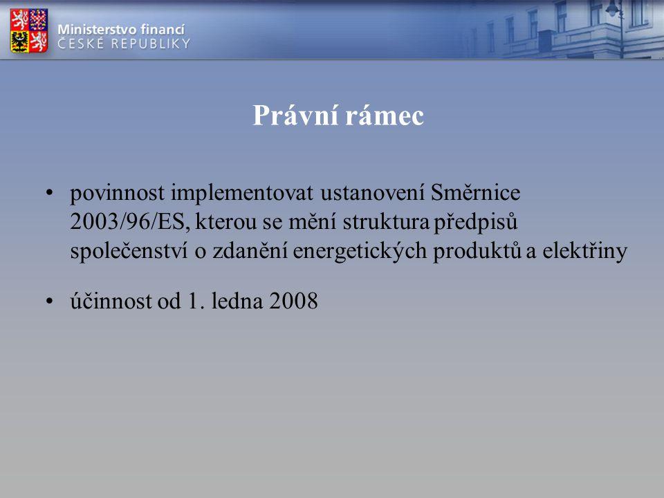 Právní rámec povinnost implementovat ustanovení Směrnice 2003/96/ES, kterou se mění struktura předpisů společenství o zdanění energetických produktů a