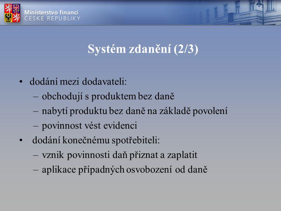 Systém zdanění (2/3) dodání mezi dodavateli: –obchodují s produktem bez daně –nabytí produktu bez daně na základě povolení –povinnost vést evidenci do
