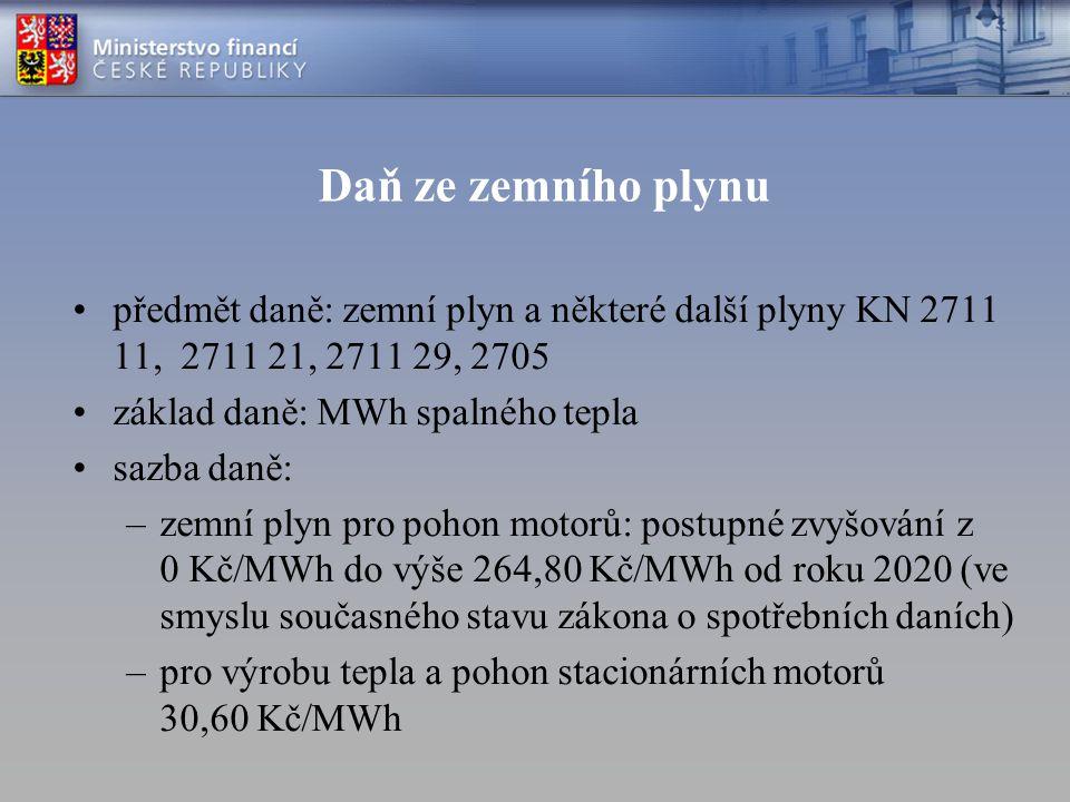Daň ze zemního plynu předmět daně: zemní plyn a některé další plyny KN 2711 11, 2711 21, 2711 29, 2705 základ daně: MWh spalného tepla sazba daně: –ze