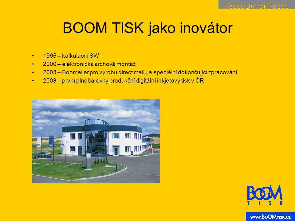 BOOM TISK jako inovátor 1995 – kalkulační SW 2000 – elektronická archová montáž 2003 – Boomailer pro výrobu direct mailu a speciální dokončující zpracování 2008 – první plnobarevný produkční digitální inkjetový tisk v ČR