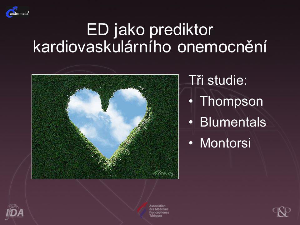 ED jako prediktor kardiovaskulárního onemocnění Tři studie: Thompson Blumentals Montorsi