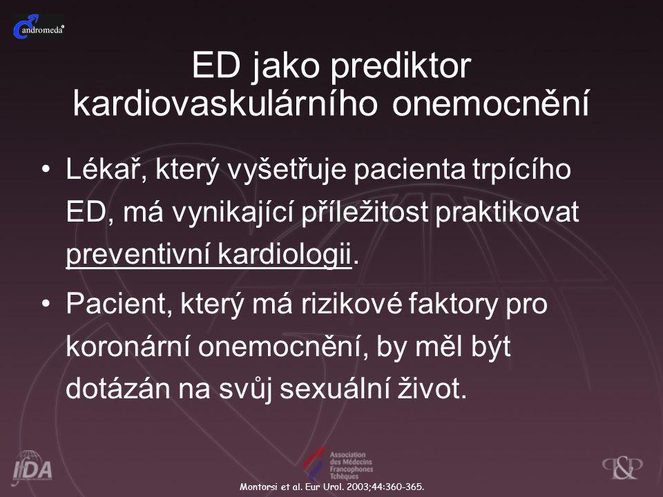 ED jako prediktor kardiovaskulárního onemocnění Lékař, který vyšetřuje pacienta trpícího ED, má vynikající příležitost praktikovat preventivní kardiol