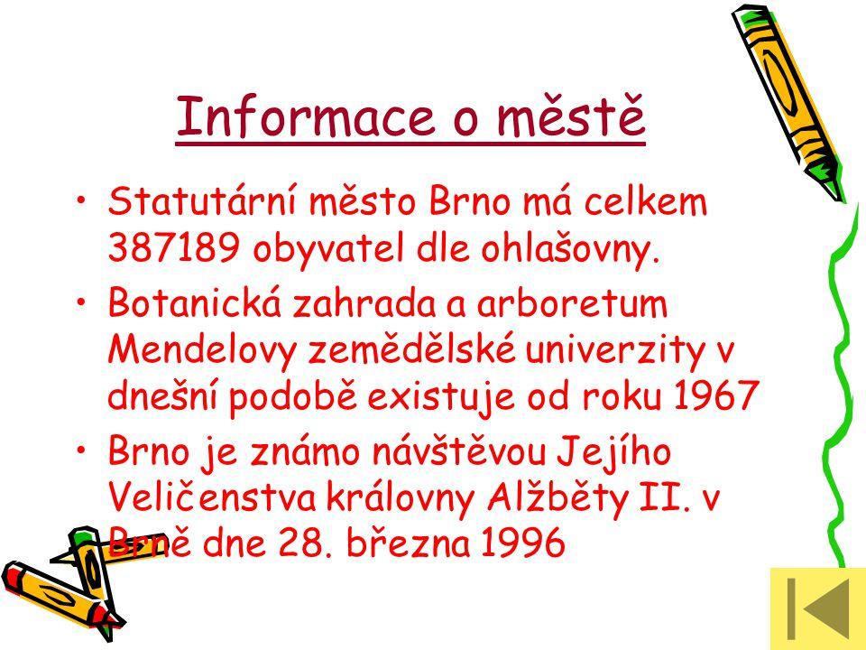 Informace o městě Statutární město Brno má celkem 387189 obyvatel dle ohlašovny. Botanická zahrada a arboretum Mendelovy zemědělské univerzity v dnešn