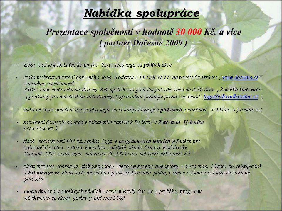 Nabídka spolupráce Prezentace společnosti v hodnotě 30 000 Kč. a více ( partner Dočesné 2009 )