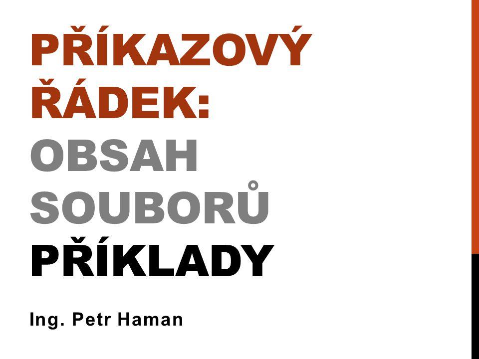 PŘÍKAZOVÝ ŘÁDEK: OBSAH SOUBORŮ PŘÍKLADY Ing. Petr Haman