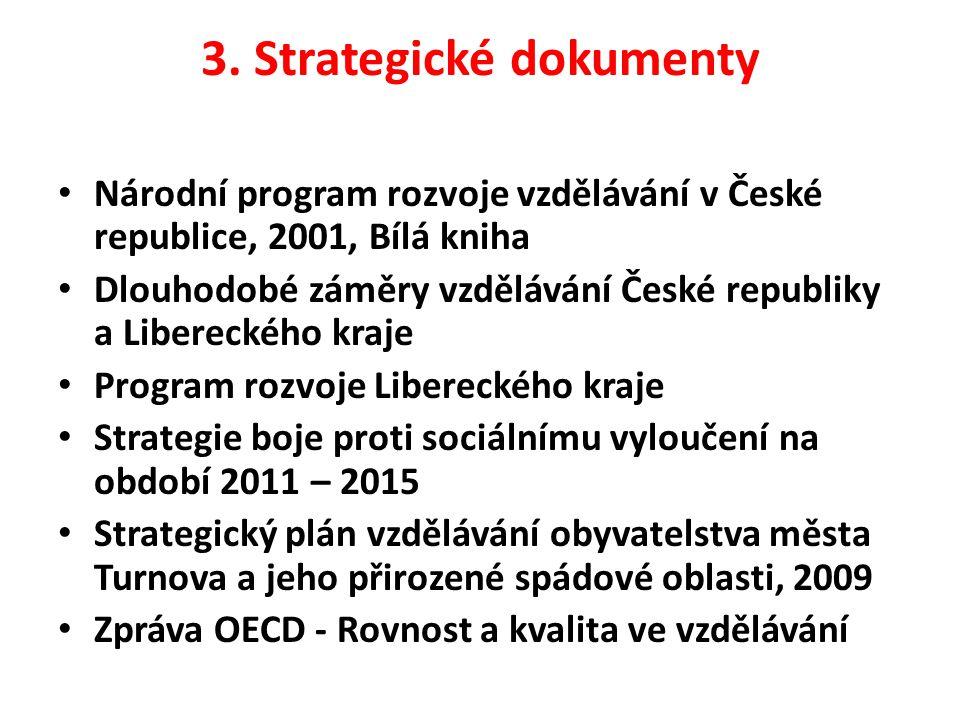 3. Strategické dokumenty Národní program rozvoje vzdělávání v České republice, 2001, Bílá kniha Dlouhodobé záměry vzdělávání České republiky a Liberec
