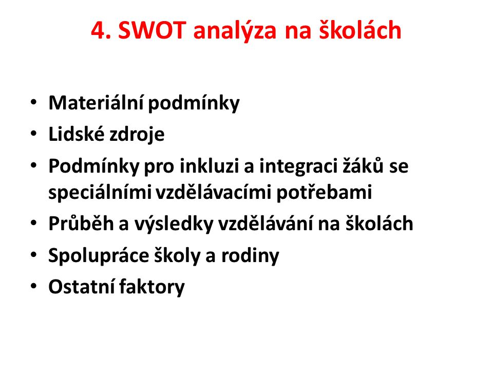 4. SWOT analýza na školách Materiální podmínky Lidské zdroje Podmínky pro inkluzi a integraci žáků se speciálními vzdělávacími potřebami Průběh a výsl