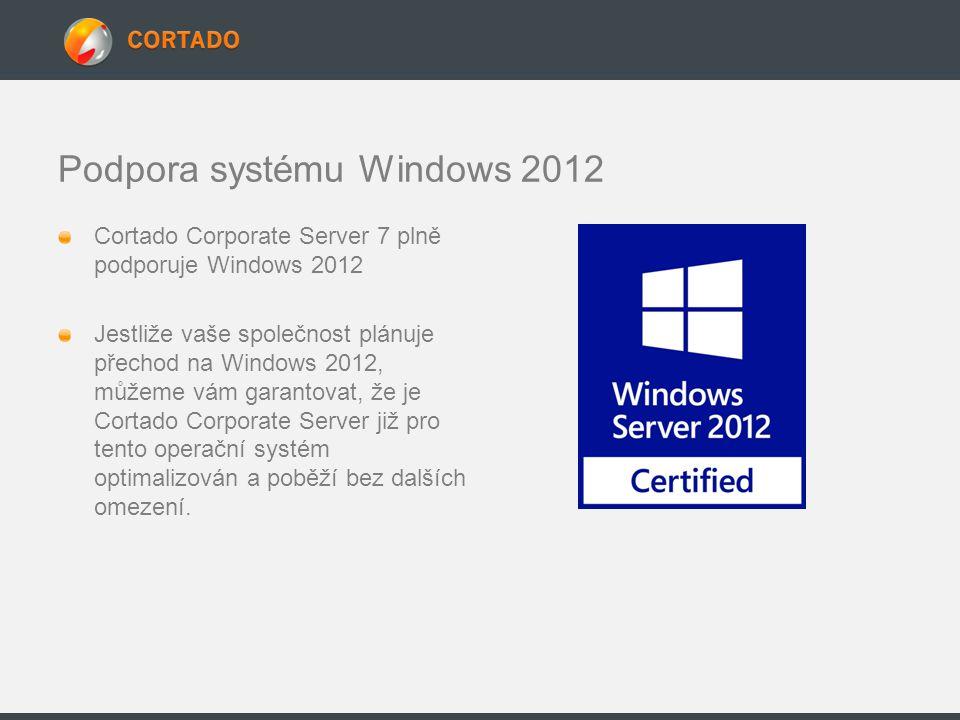 Podpora systému Windows 2012 Cortado Corporate Server 7 plně podporuje Windows 2012 Jestliže vaše společnost plánuje přechod na Windows 2012, můžeme v