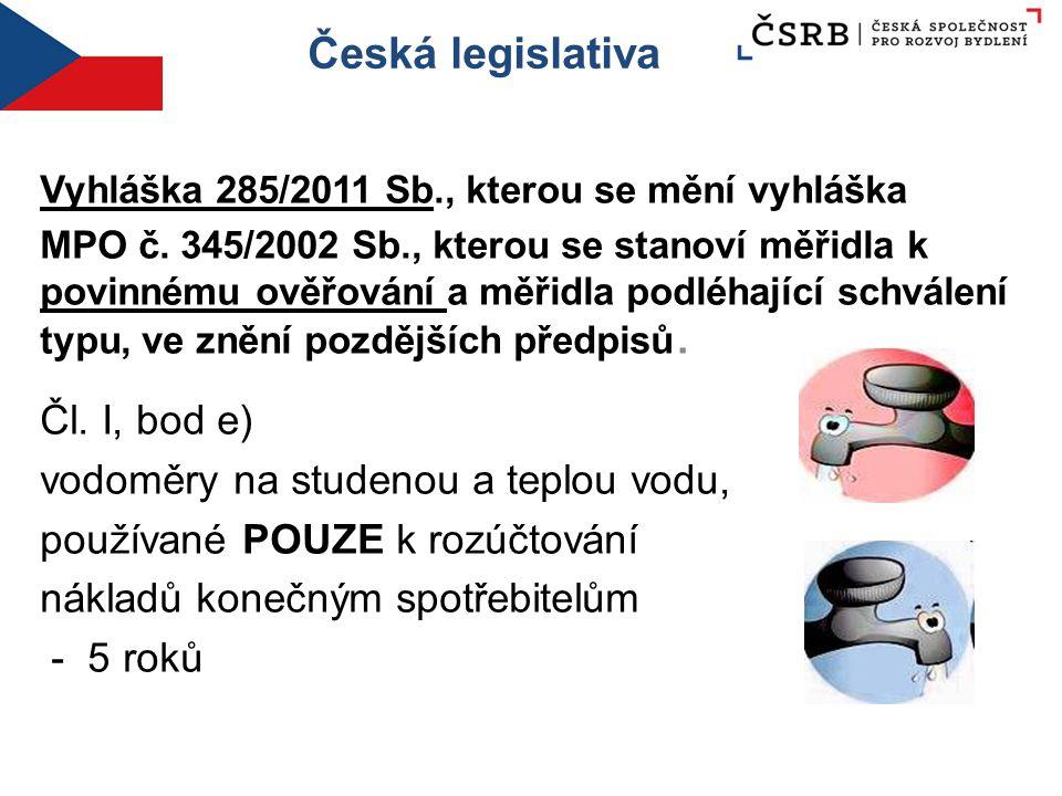 Česká legislativa Vyhláška 285/2011 Sb., kterou se mění vyhláška MPO č. 345/2002 Sb., kterou se stanoví měřidla k povinnému ověřování a měřidla podléh