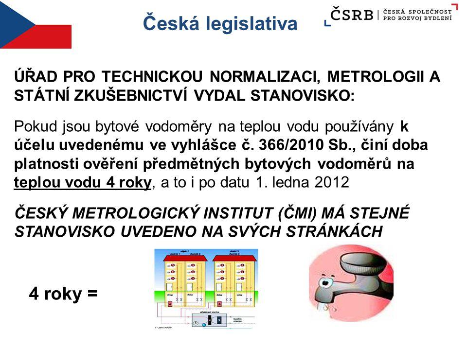 Česká legislativa ÚŘAD PRO TECHNICKOU NORMALIZACI, METROLOGII A STÁTNÍ ZKUŠEBNICTVÍ VYDAL STANOVISKO: Pokud jsou bytové vodoměry na teplou vodu použív