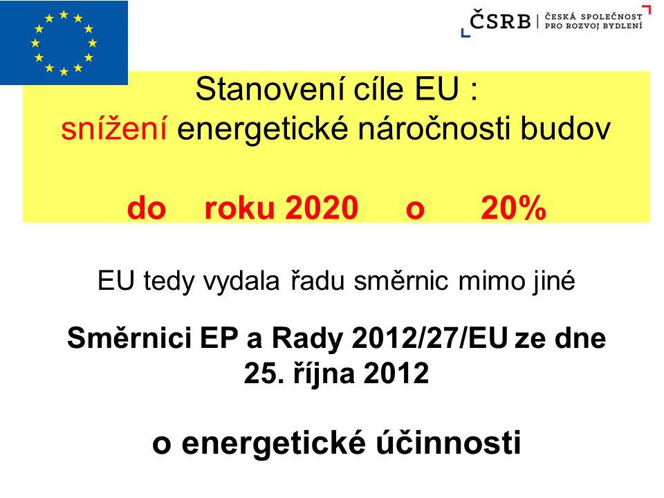 Stanovení cíle EU : snížení energetické náročnosti budov do roku 2020 o 20% EU tedy vydala řadu směrnic mimo jiné Směrnici EP a Rady 2012/27/EU ze dne
