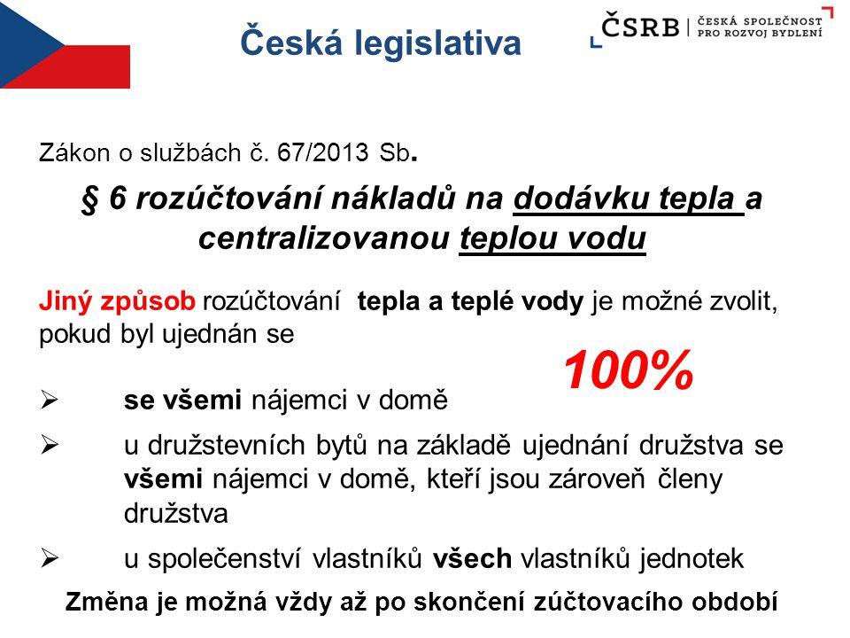 Česká legislativa Zákon o službách č. 67/2013 Sb. § 6 rozúčtování nákladů na dodávku tepla a centralizovanou teplou vodu Jiný způsob rozúčtování tepla