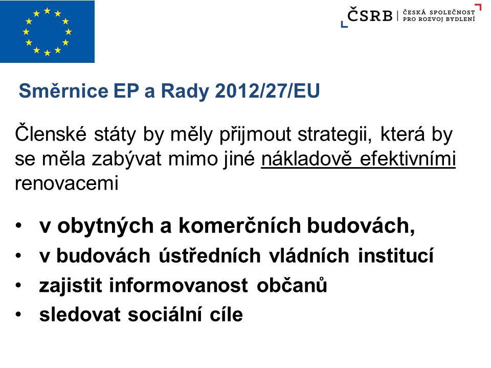 Směrnice EP a Rady 2012/27/EU Členské státy by měly přijmout strategii, která by se měla zabývat mimo jiné nákladově efektivními renovacemi v obytných