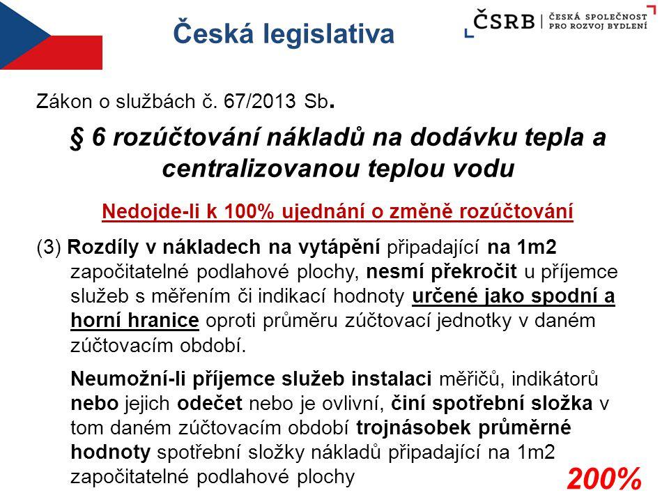 Česká legislativa Zákon o službách č. 67/2013 Sb. § 6 rozúčtování nákladů na dodávku tepla a centralizovanou teplou vodu Nedojde-li k 100% ujednání o