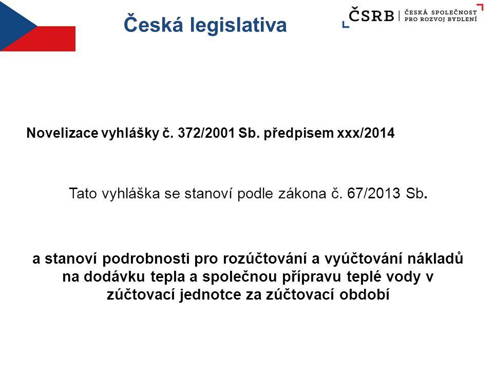 Česká legislativa Novelizace vyhlášky č. 372/2001 Sb. předpisem xxx/2014 Tato vyhláška se stanoví podle zákona č. 67/2013 Sb. a stanoví podrobnosti pr