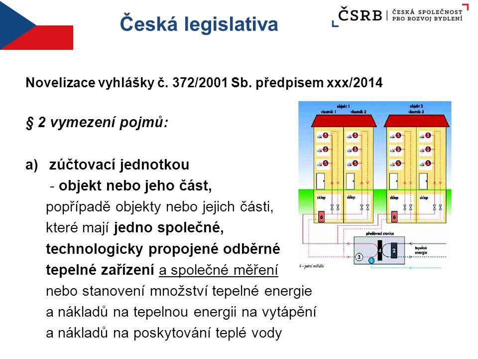 Česká legislativa Novelizace vyhlášky č. 372/2001 Sb. předpisem xxx/2014 § 2 vymezení pojmů: a)zúčtovací jednotkou - objekt nebo jeho část, popřípadě