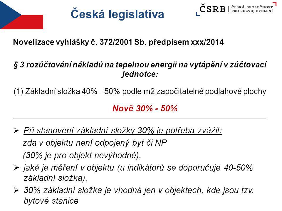 Česká legislativa Novelizace vyhlášky č. 372/2001 Sb. předpisem xxx/2014 § 3 rozúčtování nákladů na tepelnou energii na vytápění v zúčtovací jednotce: