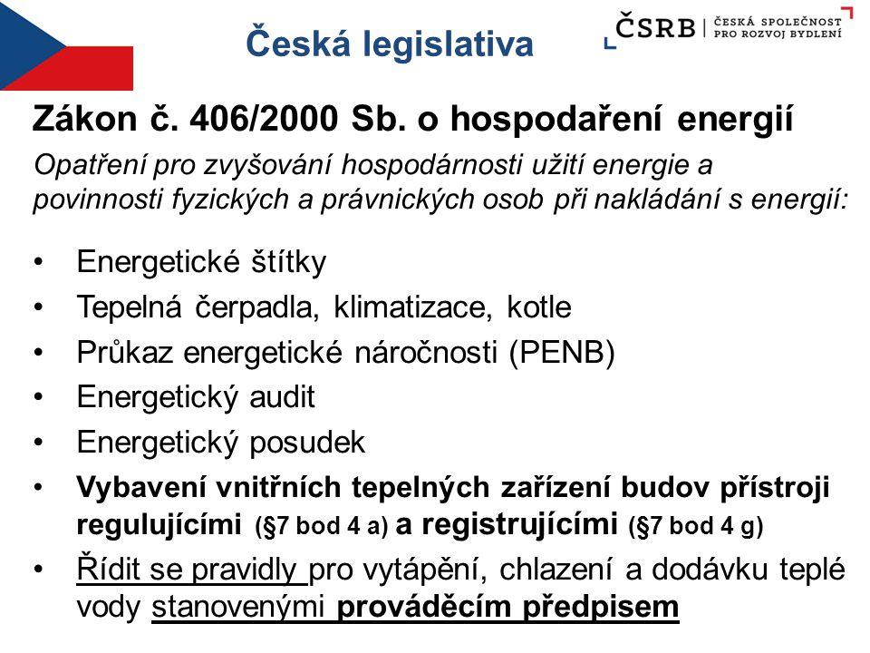 Česká legislativa Zákon č. 406/2000 Sb. o hospodaření energií Opatření pro zvyšování hospodárnosti užití energie a povinnosti fyzických a právnických