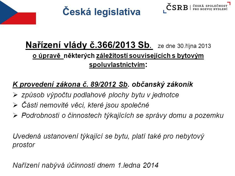 Česká legislativa Nařízení vlády č.366/2013 Sb. ze dne 30.října 2013 o úpravě některých záležitostí souvisejících s bytovým spoluvlastnictvím : K prov