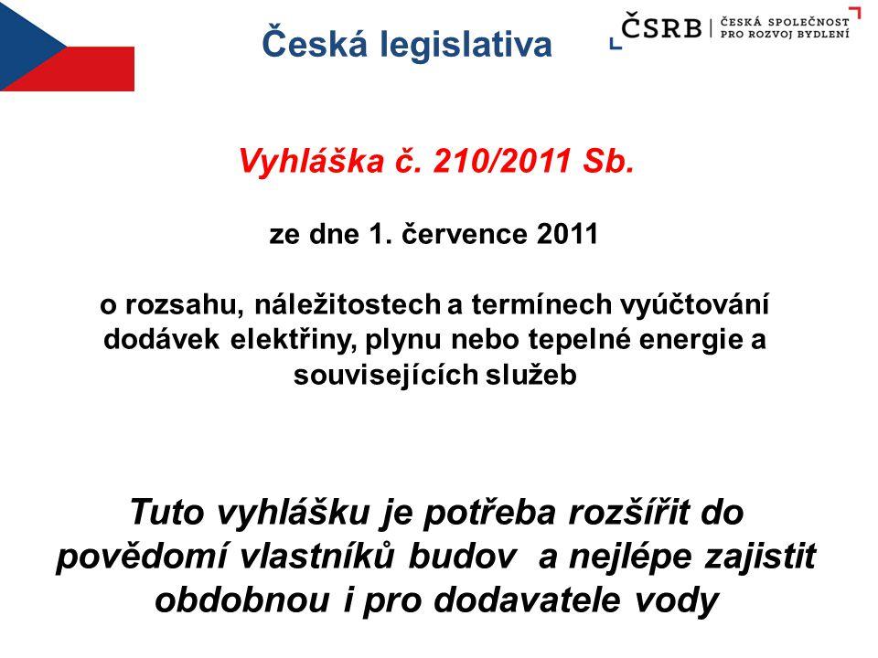 Česká legislativa Vyhláška č. 210/2011 Sb. ze dne 1. července 2011 o rozsahu, náležitostech a termínech vyúčtování dodávek elektřiny, plynu nebo tepel