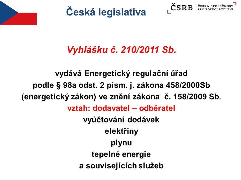 Česká legislativa Vyhlášku č. 210/2011 Sb. vydává Energetický regulační úřad podle § 98a odst. 2 písm. j. zákona 458/2000Sb (energetický zákon) ve zně