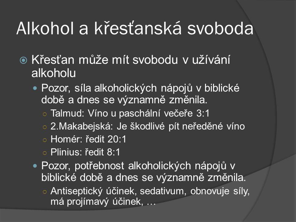 Alkohol a křesťanská svoboda  Křesťan může mít svobodu v užívání alkoholu Pozor, síla alkoholických nápojů v biblické době a dnes se významně změnila