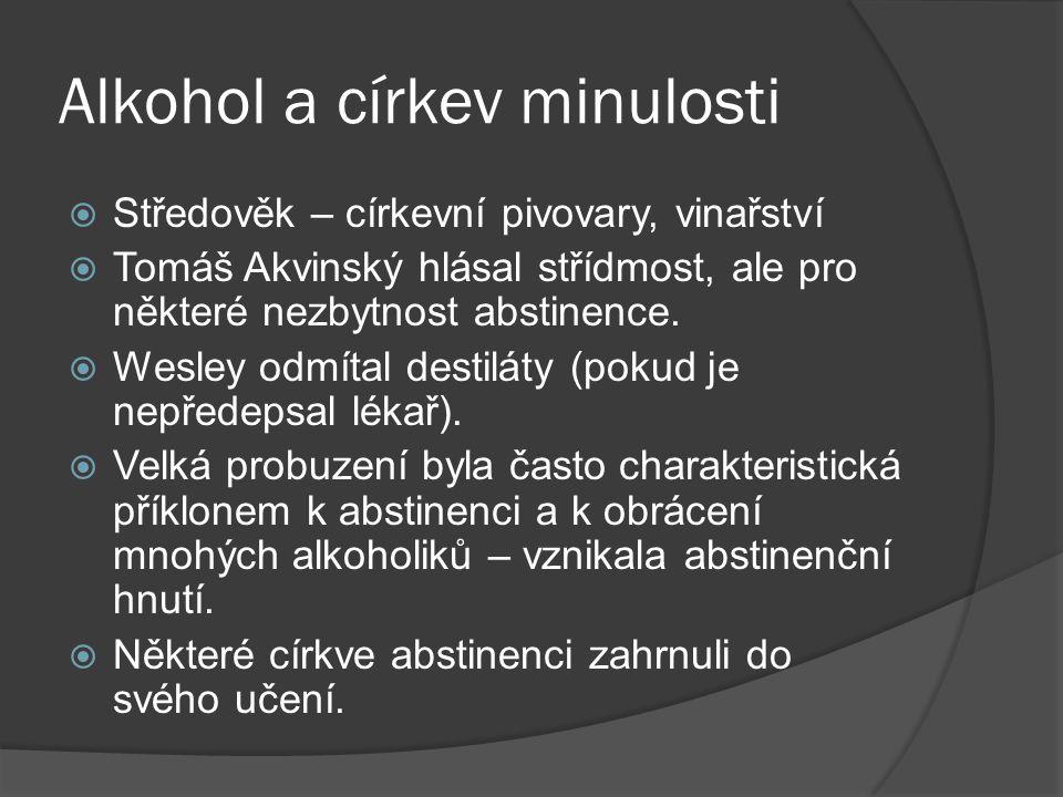 Alkohol a církev minulosti  Středověk – církevní pivovary, vinařství  Tomáš Akvinský hlásal střídmost, ale pro některé nezbytnost abstinence.  Wesl