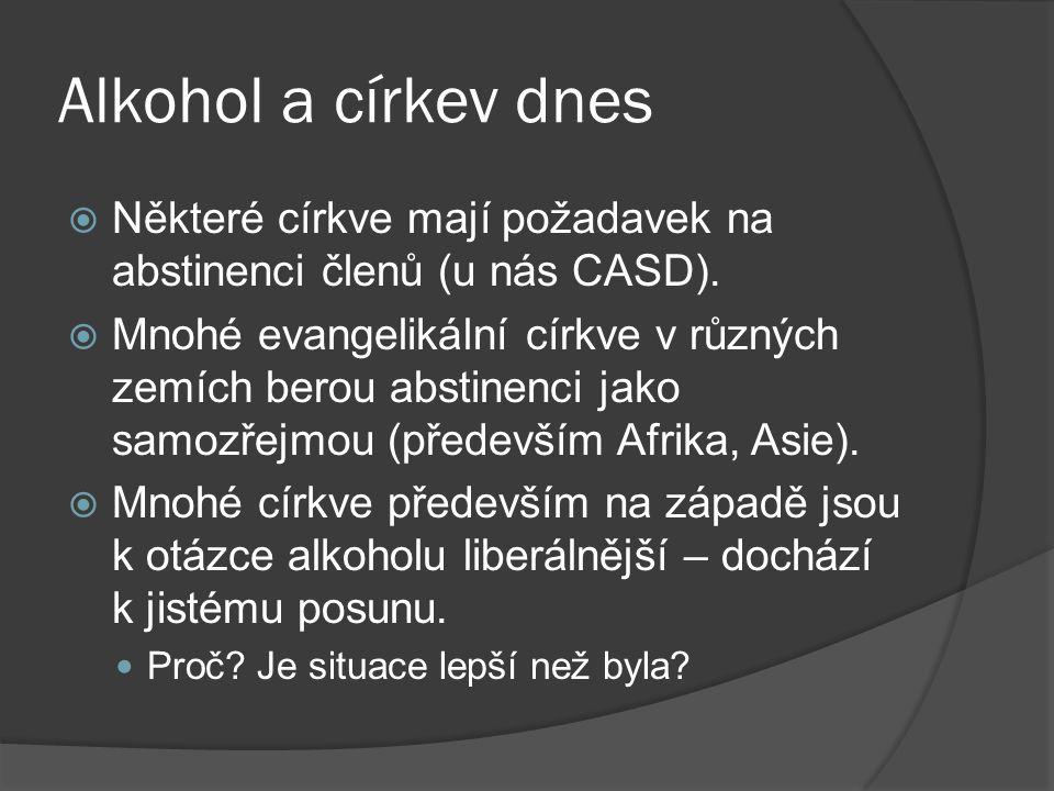 Alkohol a církev dnes  Některé církve mají požadavek na abstinenci členů (u nás CASD).  Mnohé evangelikální církve v různých zemích berou abstinenci