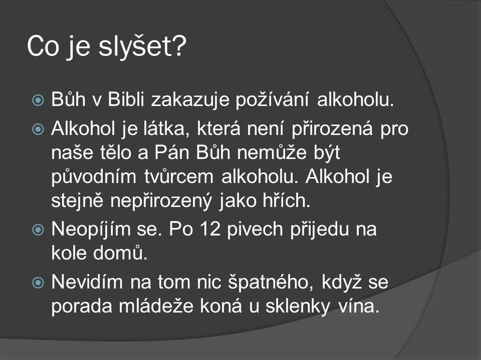Co je slyšet?  Bůh v Bibli zakazuje požívání alkoholu.  Alkohol je látka, která není přirozená pro naše tělo a Pán Bůh nemůže být původním tvůrcem a