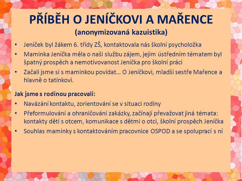 PŘÍBĚH O JENÍČKOVI A MAŘENCE (anonymizovaná kazuistika) Jeníček byl žákem 6. třídy ZŠ, kontaktovala nás školní psycholožka Maminka Jeníčka měla o naši