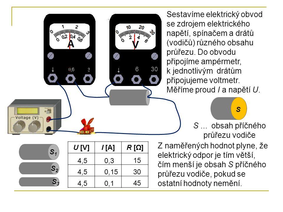 630 Sestavíme elektrický obvod se zdrojem elektrického napětí, spínačem a drátů (vodičů) různého obsahu průřezu.