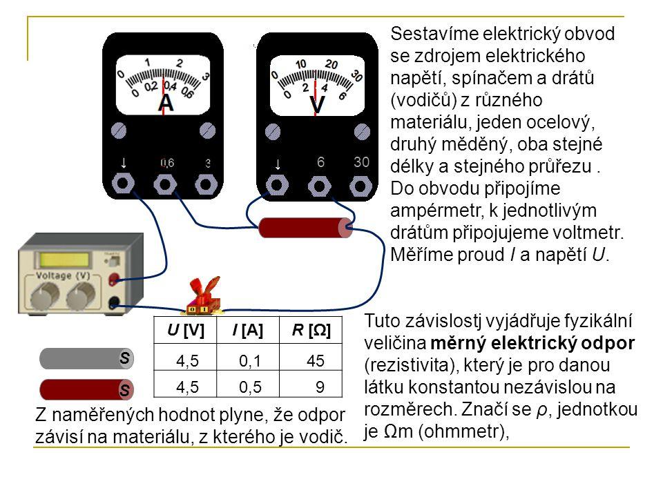 630 Sestavíme elektrický obvod se zdrojem elektrického napětí, spínačem a drátů (vodičů) z různého materiálu, jeden ocelový, druhý měděný, oba stejné délky a stejného průřezu.