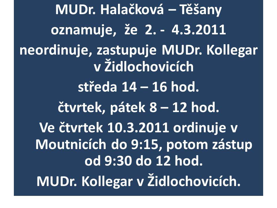 MUDr. Halačková – Těšany oznamuje, že 2. - 4.3.2011 neordinuje, zastupuje MUDr.