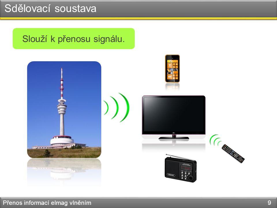 Sdělovací soustava Přenos informací elmag vlněním 9 Slouží k přenosu signálu.