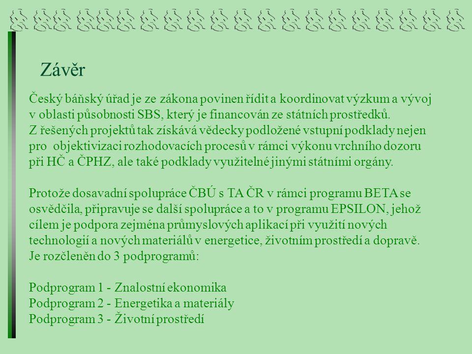 Závěr Český báňský úřad je ze zákona povinen řídit a koordinovat výzkum a vývoj v oblasti působnosti SBS, který je financován ze státních prostředků.