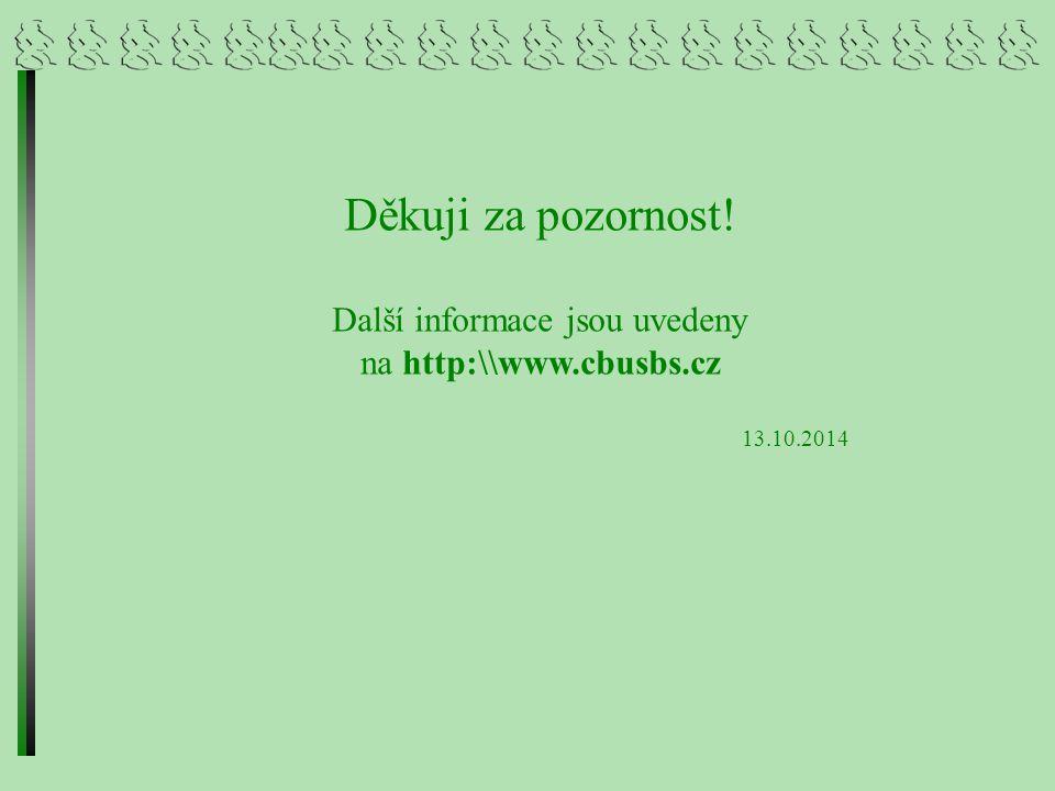 Děkuji za pozornost! Další informace jsou uvedeny na http:\\www.cbusbs.cz 13.10.2014