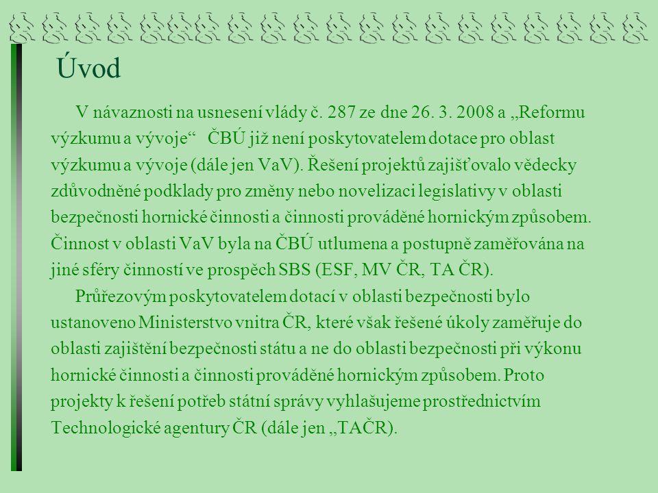 Bezpečnostní výzkum MV ČR Jak už bylo zmíněno průřezovým poskytovatelem dotací v oblasti bezpečnosti bylo ustanoveno MV ČR, které však řešené úkoly zaměřuje do oblasti zajištění bezpečnosti státu.