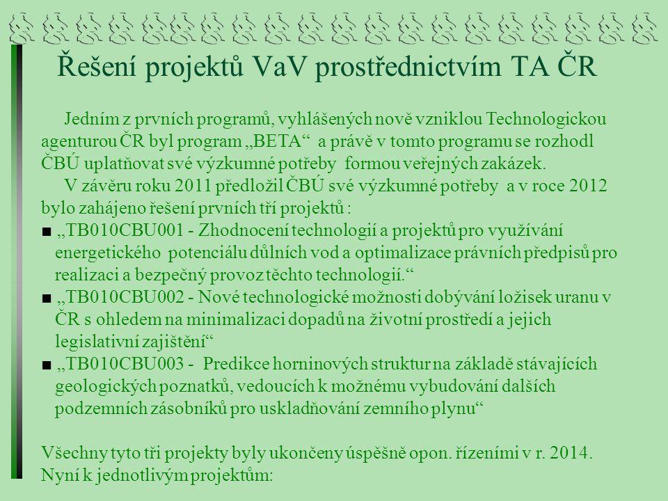 """Projekt TB010CBU001 """"Zhodnocení technologií a projektů pro využívání energetického potenciálu důlních vod a optimalizace právních předpisů pro realizaci a bezpečný provoz těchto technologií """" Řešitel : FITE, a.s."""