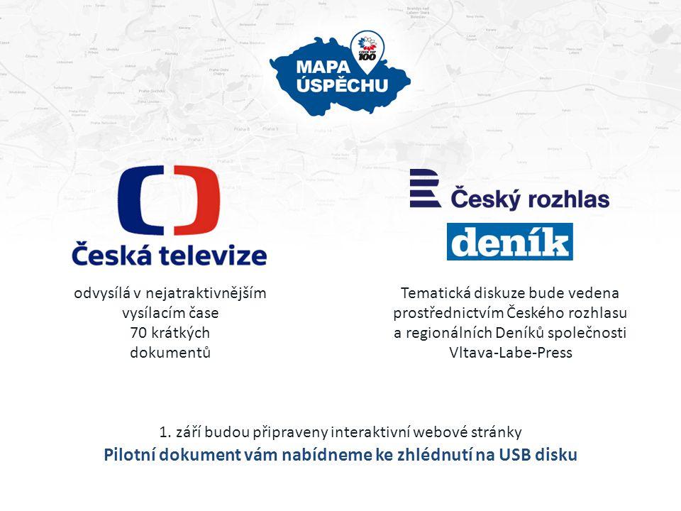 odvysílá v nejatraktivnějším vysílacím čase 70 krátkých dokumentů Tematická diskuze bude vedena prostřednictvím Českého rozhlasu a regionálních Deníků společnosti Vltava-Labe-Press 1.