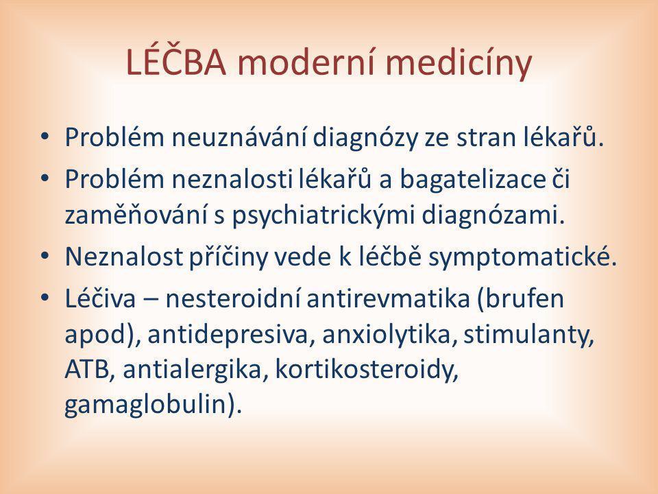 LÉČBA moderní medicíny Problém neuznávání diagnózy ze stran lékařů. Problém neznalosti lékařů a bagatelizace či zaměňování s psychiatrickými diagnózam