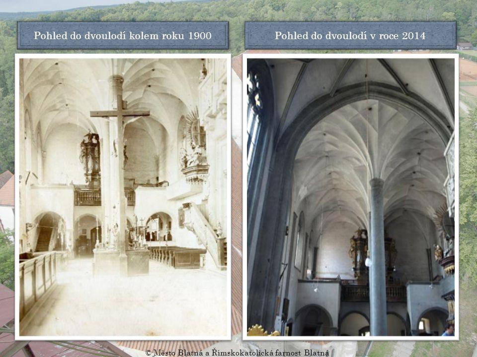 Pohled ke kněžišti kolem roku 1934 Pohled ke kněžišti v roce 2014 © Město Blatná a Římskokatolická farnost Blatná