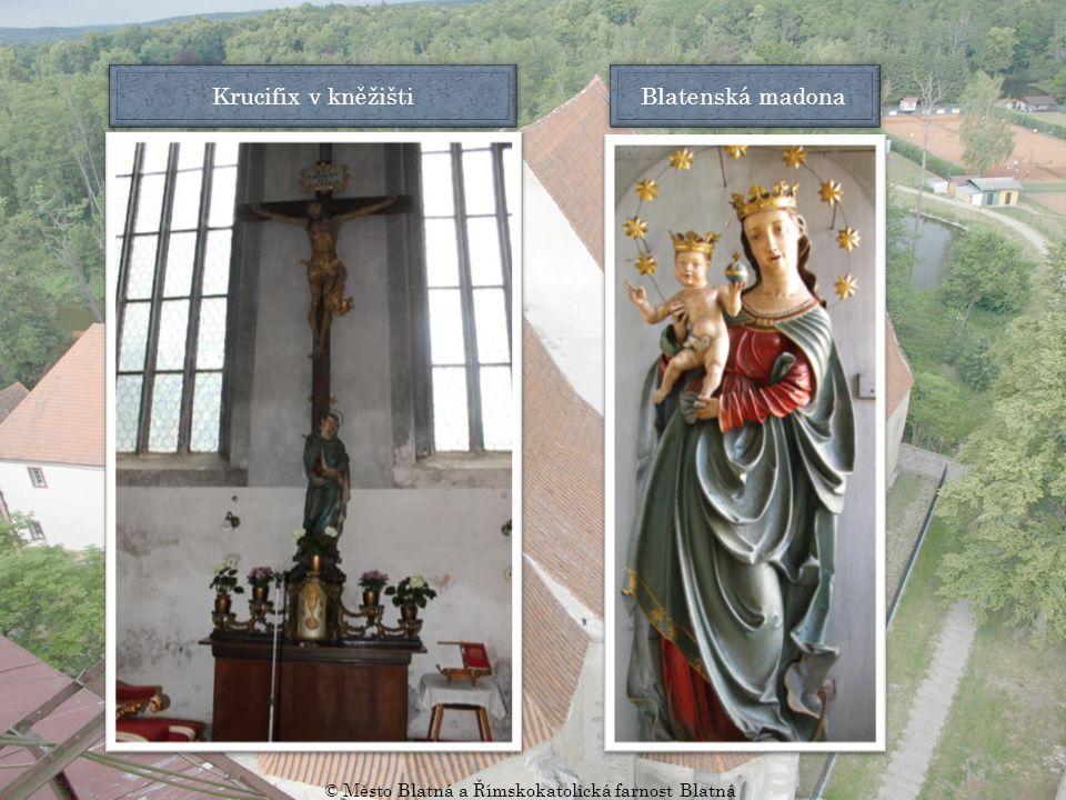 Náhrobní kameny v kněžišti Kruchta Kněžiště z pavlače (oratoře) Náhrobní kámen před oltářem © Město Blatná a Římskokatolická farnost Blatná