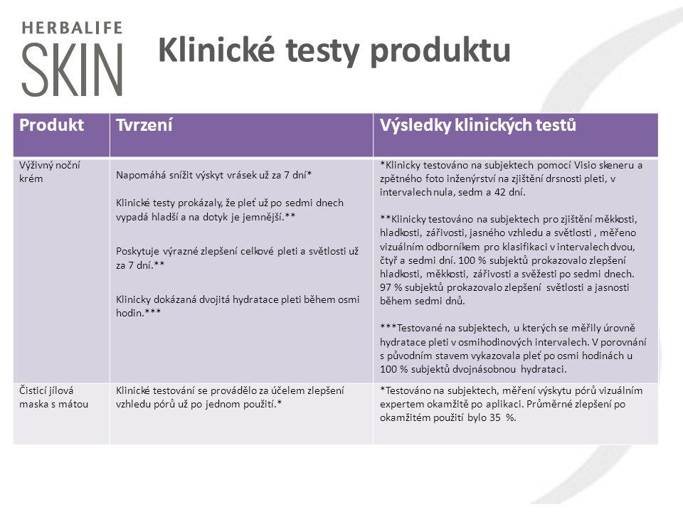Klinické testy produktu ProduktTvrzeníVýsledky klinických testů Výživný noční krém Napomáhá snížit výskyt vrásek už za 7 dní* Klinické testy prokázaly