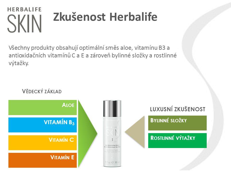 Zkušenost Herbalife A LOE VITAMÍN B 3 V ITAMÍN C V ITAMÍN E B YLINNÉ SLOŽKY R OSTLINNÉ VÝTAŽKY V ĚDECKÝ ZÁKLAD LUXUSNÍ ZKUŠENOST Všechny produkty obsa