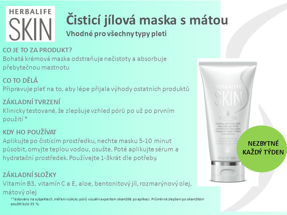 Čisticí jílová maska s mátou Vhodné pro všechny typy pleti CO JE TO ZA PRODUKT? Bohatá krémová maska odstraňuje nečistoty a absorbuje přebytečnou mast