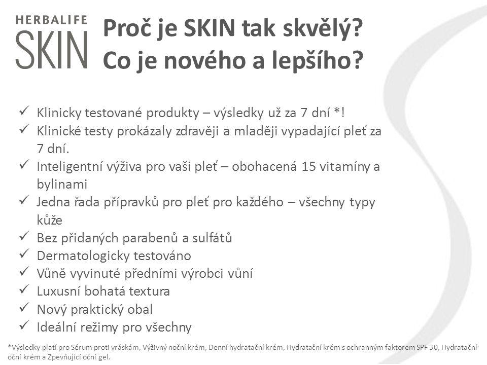 Proč je SKIN tak skvělý? Co je nového a lepšího? Klinicky testované produkty – výsledky už za 7 dní *! Klinické testy prokázaly zdravěji a mlaději vyp